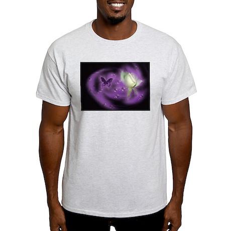 Purple Butterfly Ash Grey T-Shirt