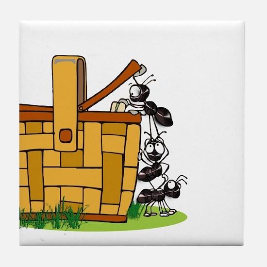 Ants Raiding a Picnic Basket Tile Coaster