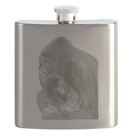Pencil Drawing of Gorilla and Baby Flask