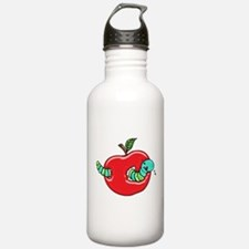 Apple and a Hungry Worm Sports Water Bottle
