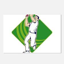 Cricket Bowler Bowling Ball Front Postcards (Packa