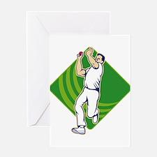 Cricket Bowler Bowling Ball Front Greeting Card