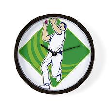 Cricket Bowler Bowling Ball Front Wall Clock