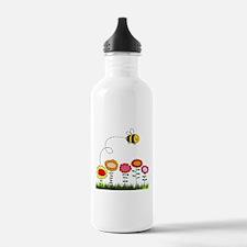 Bee Buzzing a Flower Garden Water Bottle