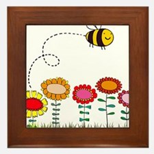 Bee Buzzing a Flower Garden Framed Tile