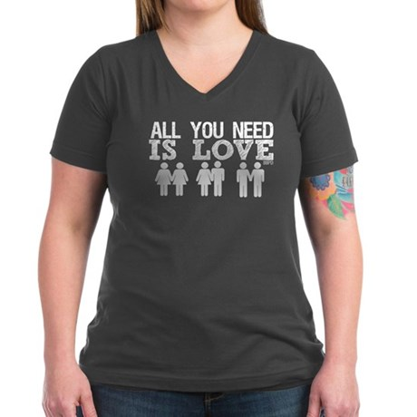 All You Need Is Love Women's V-Neck Dark T-Shirt