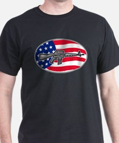 Armalite M-16 Colt AR-15 assault rifle flag T-Shirt