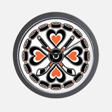 Philly Orange and Black Hex Wall Clock