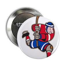 "Ice Hockey Player Striking Stick 2.25"" Button"