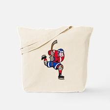 Ice Hockey Player Striking Stick Tote Bag
