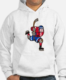 Ice Hockey Player Striking Stick Hoodie