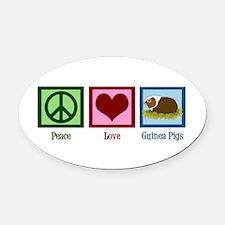 Peace Love Guinea Pigs Oval Car Magnet