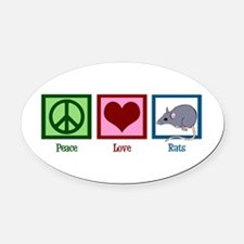 Peace Love Rats Oval Car Magnet