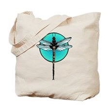 Graphic Dragonfly in Aqua Circle Tote Bag