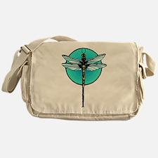 Graphic Dragonfly in Aqua Circle Messenger Bag