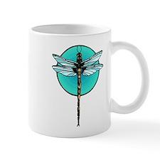Graphic Dragonfly in Aqua Circle Mug
