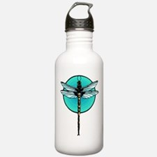 Graphic Dragonfly in Aqua Circle Water Bottle