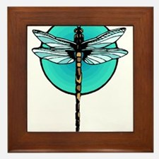 Graphic Dragonfly in Aqua Circle Framed Tile