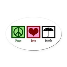 Peace Love Seattle Oval Car Magnet