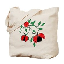 Delicate Ladybugs on Graceful Leaves Tote Bag