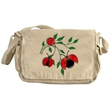Delicate Ladybugs on Graceful Leaves Messenger Bag