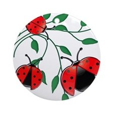 Delicate Ladybugs on Graceful Leaves Ornament (Rou