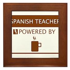 Spanish Teacher Powered by Coffee Framed Tile