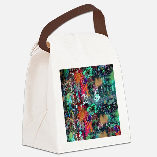 Graffiti and Paint Splatter Canvas Lunch Bag