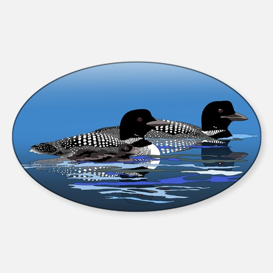 loon family Sticker (Oval)