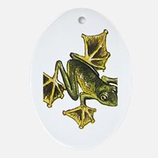 Flying Frog Oval Ornament