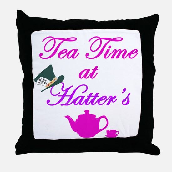 Tea Time at Hatters Throw Pillow