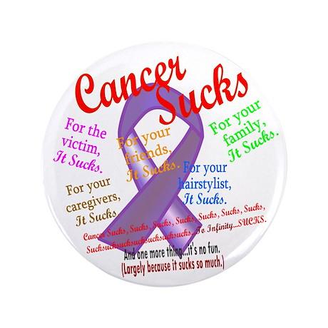 "Cancer Sucks Purple Ribbon 3.5"" Button (100 pack)"