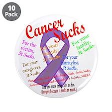 "Cancer Sucks Purple Ribbon 3.5"" Button (10 pack)"