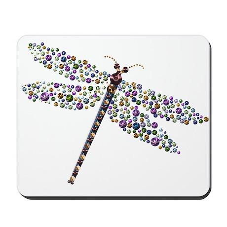 Pointilist Gem Studded Dragon Fly Mousepad