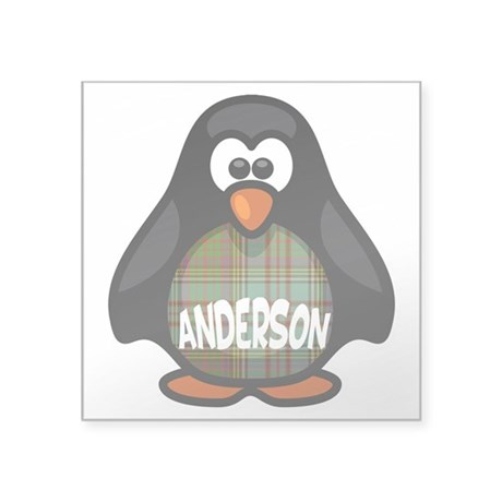 "Anderson Tartan Penguin Square Sticker 3"" x 3"""