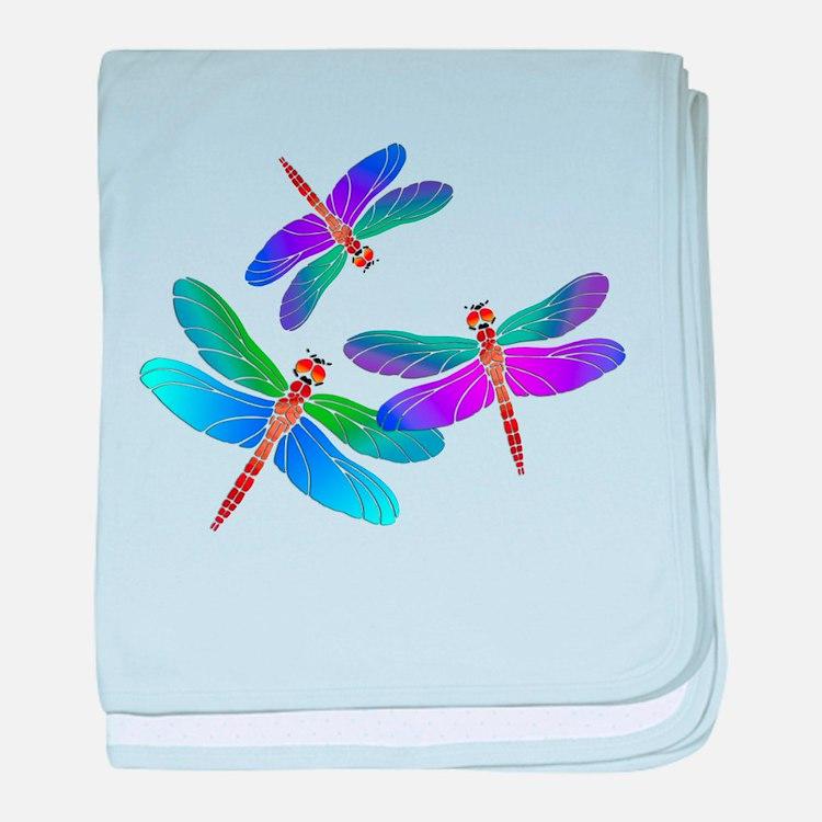 Dive Bombing Iridescent Dragonflies baby blanket