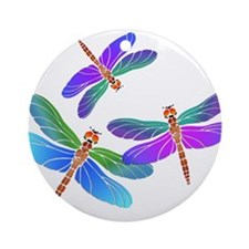 Dive Bombing Iridescent Dragonflies Ornament (Roun