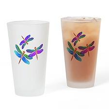 Dive Bombing Iridescent Dragonflies Drinking Glass