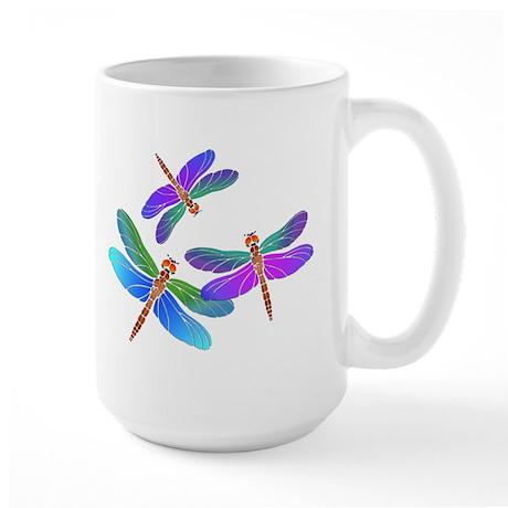 Dive Bombing Iridescent Dragonflies Large Mug