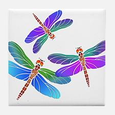 Dive Bombing Iridescent Dragonflies Tile Coaster