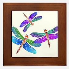Dive Bombing Iridescent Dragonflies Framed Tile