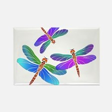 Dive Bombing Iridescent Dragonflies Rectangle Magn