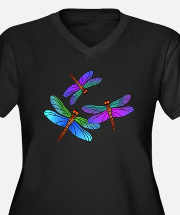 Dive Bombing Iridescent Dragonflies Women's Plus S