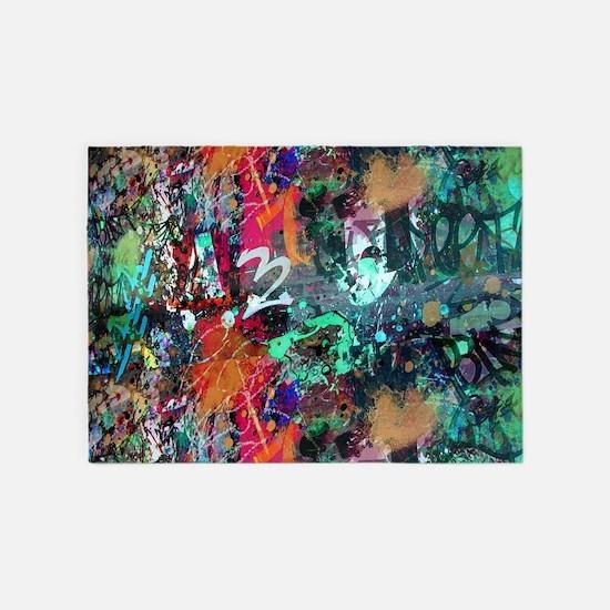 Graffiti and Paint Splatter 5'x7'Area Rug