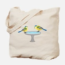 Blue and Yellow Birds at the Spa Tote Bag