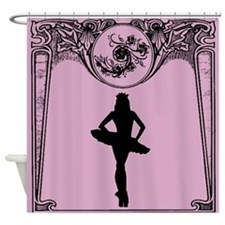 Pink and Black Art Deco Ballerina Shower Curtain