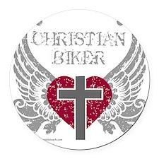 CHRISTIAN BIKER Round Car Magnet