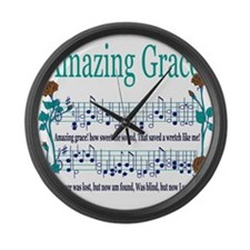 Amazing Grace Lyrics.png Large Wall Clock