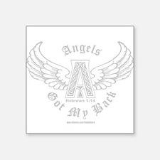 "3-AngelsGotMyBackLightShirt.png Square Sticker 3"""