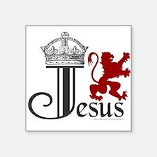 "JesusCrownLion.png Square Sticker 3"" x 3"""